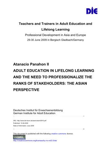 Atanacio Panahon II ADULT EDUCATION IN LIFELONG LEARNING ...