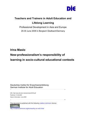 Irina Maslo New-professionalism's responsibility of learning in socio ...