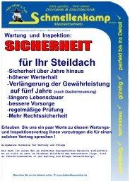 Inspektions.- Wartungsvertrag - STEILDACH - Schmellenkamp