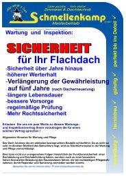 Wartungsvertrag Flachdach - Schmellenkamp