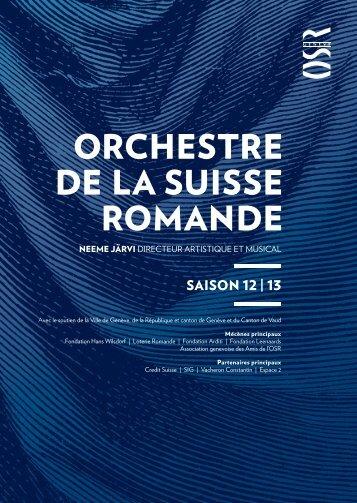 Programme général 2012-2013 - Orchestre de la Suisse Romande