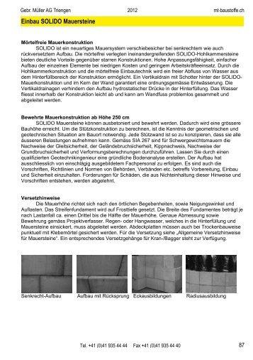 Technische Hinweise für SOLIDO Mauersteine - Gebrüder Müller AG