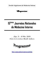 15 èmes Journées Nationales de Médecine Interne - Santé-Algérie