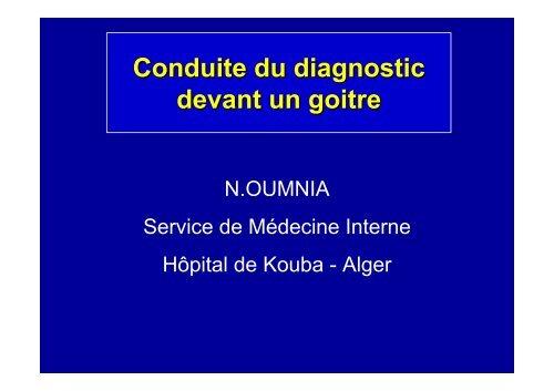 Conduite du diagnostic devant un goitre