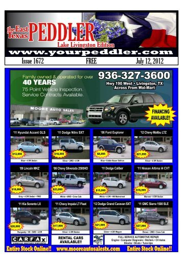 FREE Issue 1672 July 12, 2012 - East TX Peddler, Livingston, TX ...