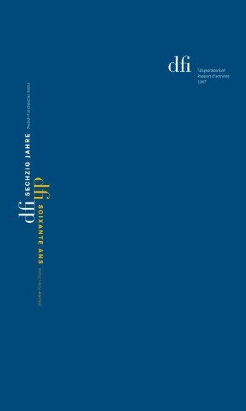 dfi Tätigkeitsbericht Rapport d'activités 2007