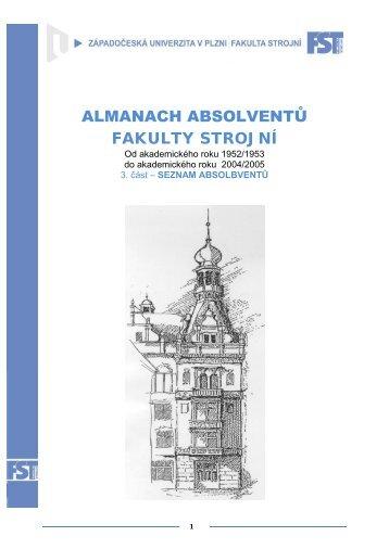 almanach absolventů - Fakulta strojní - Západočeská univerzita v Plzni