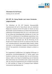 Information für die Presse DG HYP: Dr. Georg Reutter zum neuen ...
