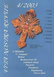 Vita Nostra Revue 4/2003 - 3. lékařská fakulta, Univerzita Karlova v ...