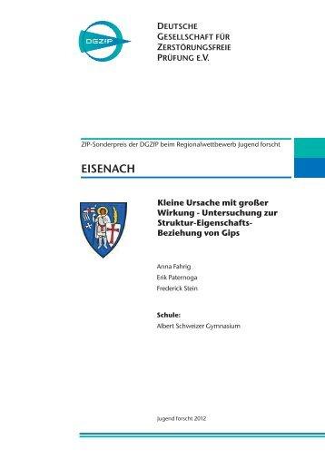 Untersuchung zur Struktur-Eigenschafts- Beziehung von Gips - DGZfP