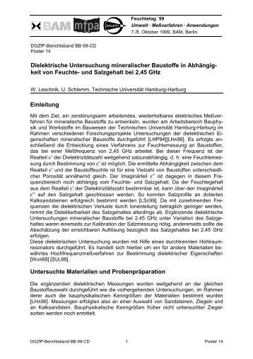 Dielektrische Untersuchung mineralischer Baustoffe in ... - DGZfP