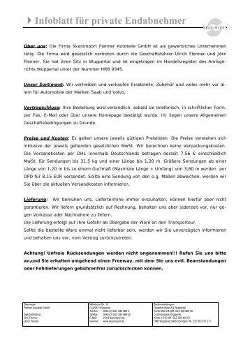 Infoblatt für private Endabnehmer - Skanimport
