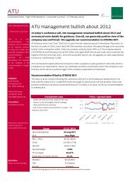 ATU management bullish about 2012 - Jyske Bank