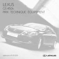GS 450h PRIX · TECHNIQUE · ÉQUIPEMENT - Lexus