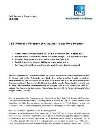 D&B Formel 1 Finanzcheck: Sauber in der Pole ... - Dun & Bradstreet