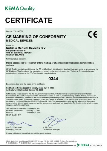 CE MARKING OF CONFORMITY MEDICAL DEVICES - Nutricia