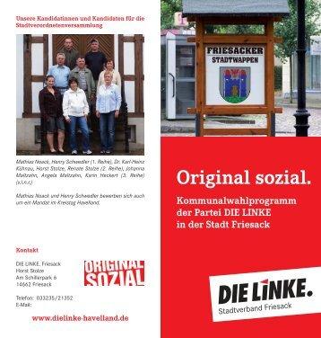 Original sozial. Kommunalwahlprogramm der Partei DIE LINKE in ...