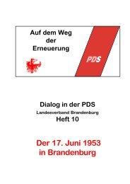Dialog in der PDS - Die Linke. Brandenburg