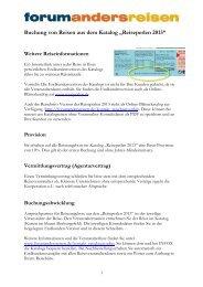 """Buchung von Reisen aus dem Katalog """"Reiseperlen 2013"""""""