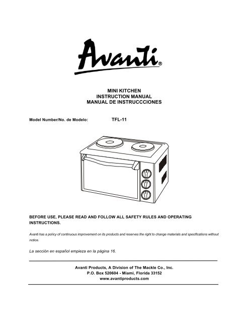 mini kitchen instruction manual manual de ... - Avanti Products