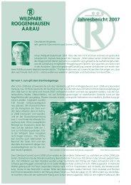 Jahresbericht 2007 - Wildpark Roggenhausen