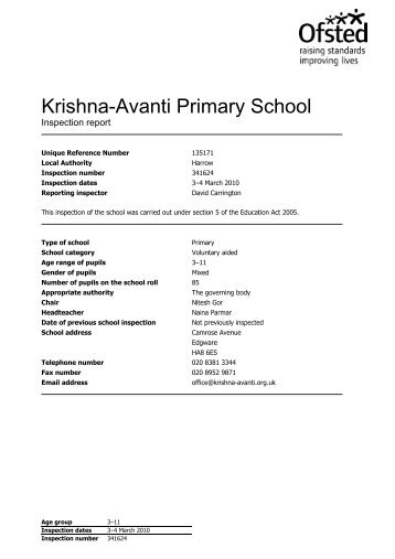 Krishna-Avanti Primary School - Ofsted