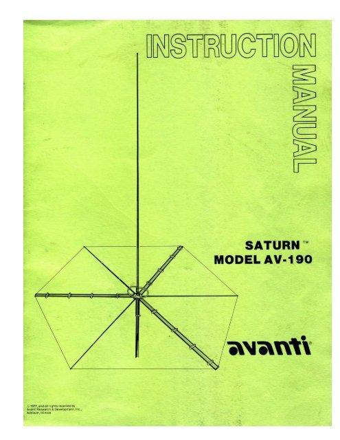 Avanti-Saturn-AV-190-Manual - CB Tricks