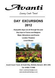 day excursions 2012 - Avanti Coach Holidays