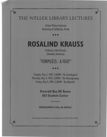 ROSALIND KRAUSS - UCI Libraries - University of California, Irvine