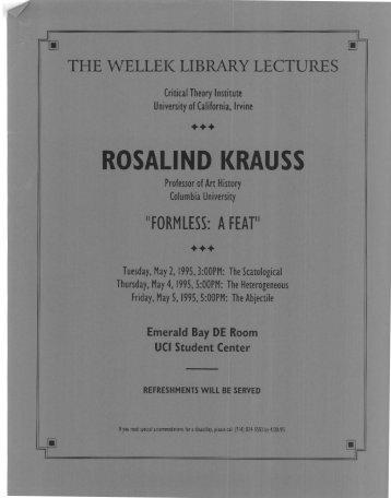 ROSALIND KRAUSS - UCI Libraries - University of California, Irvine