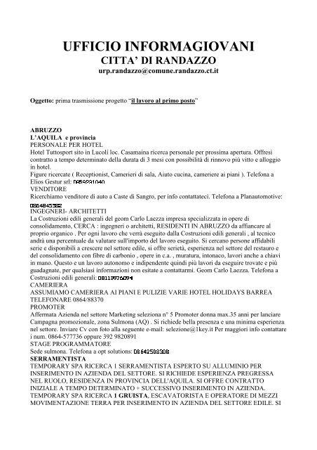 prima qualità buona qualità nuovo stile di vita ufficio informagiovani citta - Comune di Randazzo