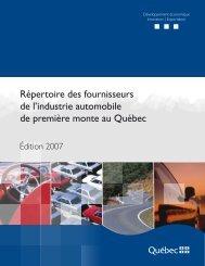 Répertoire des fournisseurs de l'industrie automobile de ... - MDEIE