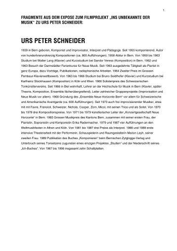 Über den Komponisten Urs Peter Schneider