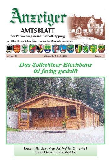 Das Solkwitzer Blockhaus ist fertig gestellt - VG Oppurg