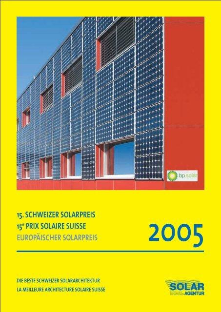 le prix solaire suisse 2005 - Solar Agentur Schweiz