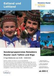 Sondergruppenreise Reisebüro Reuter nach Tallinn und Riga