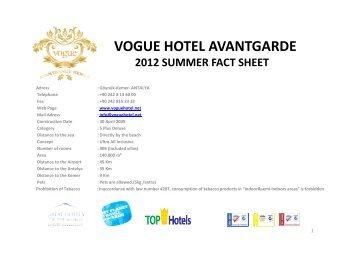 vogue hotel avantgarde 2012 summer fact sheet