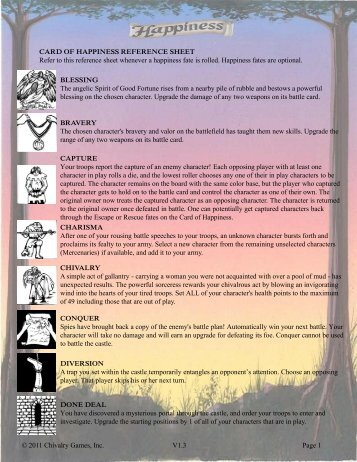 Happiness Reference Sheet Lite (pdf) - Chivalry Games