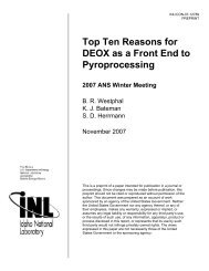 Top Ten Reasons for DEOX as a Front End to Pyroprocessing 2007 ...
