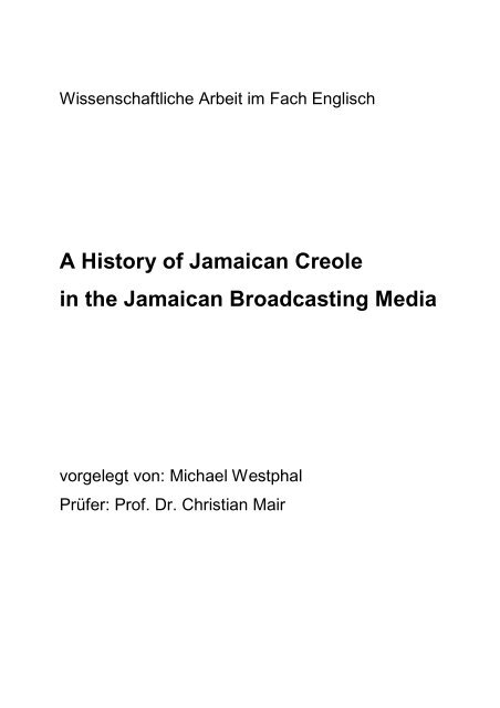A History of Jamaican Creole in the Jamaican Broadcasting