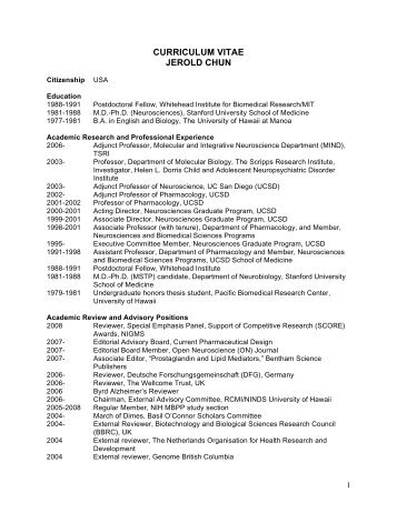 CURRICULUM VITAE JEROLD CHUN - people.vcu.edu