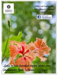 Learn to take beautiful digital photos from - Hawaii Community College