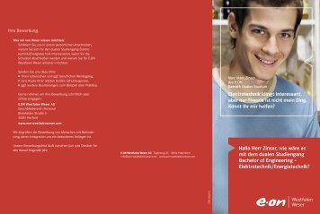 Flyer Bachelor of Engineering - E.ON Westfalen Weser