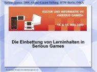 Die Einbettung von Lerninhalten in Serious Games - INKA - HTW ...