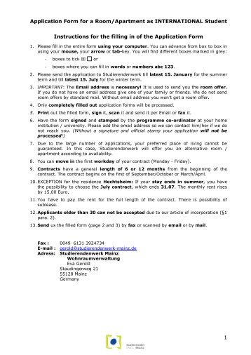 Application form for a room/appartment at the Studentenwerk Mainz ...