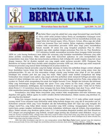 Berita UKI Edisi April 2009 - Umat Katolik Indonesia di Toronto