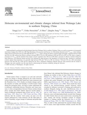 Holocene environmental and climatic changes inferred from ...