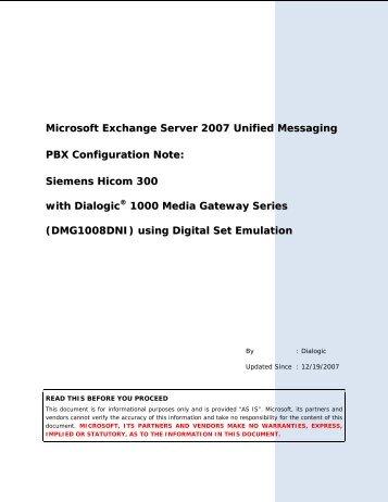 Microsoft Exchange Server 2007 Unified Messaging PBX ... -  Dialogic