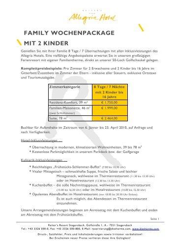 FAMILY WOCHENPACKAGE MIT 2 KINDER - Die Therme