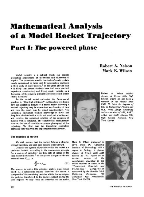 Mathematical Analysis of a Model Rocket Trajectory